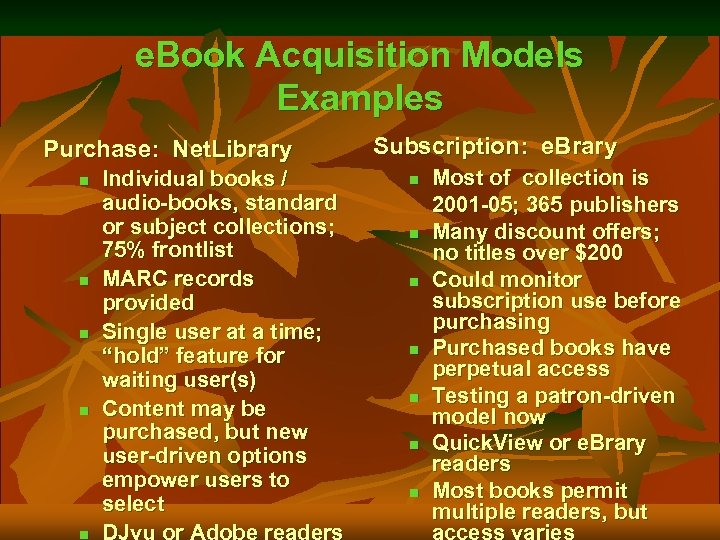 e. Book Acquisition Models Examples Purchase: Net. Library n n n Individual books /