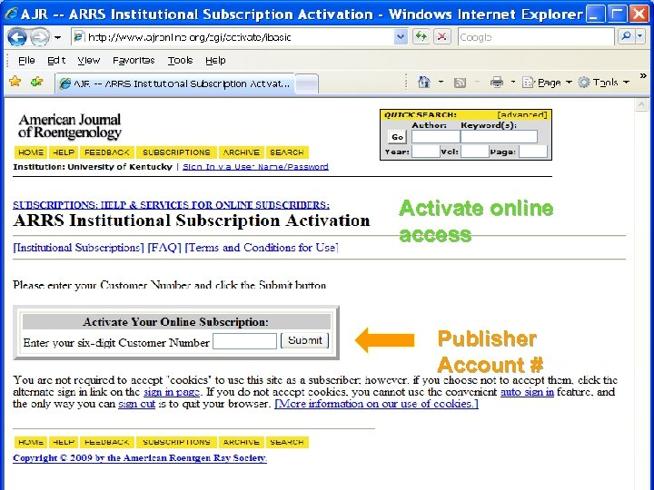 Activate online access Publisher Account #