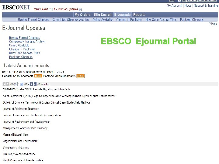 EBSCO Ejournal Portal