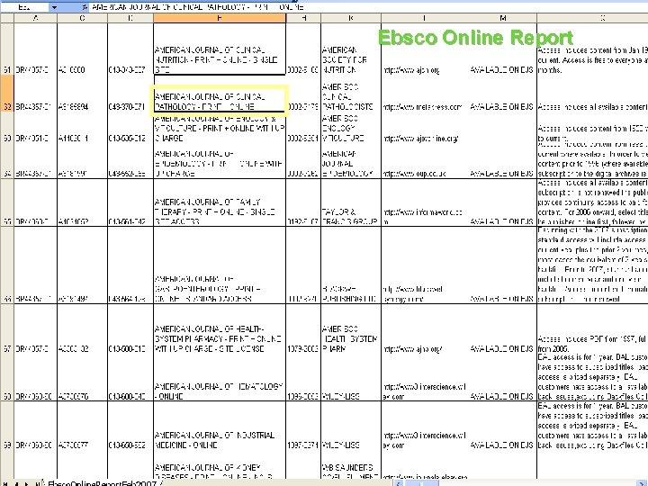 Ebsco Online Report