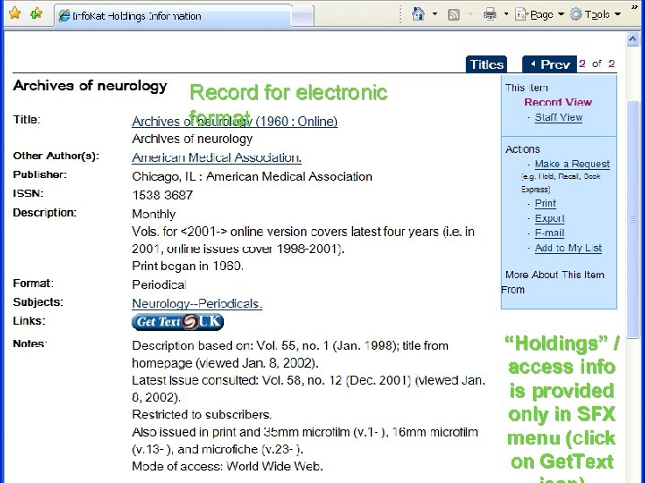 "Record for electronic format ""Holdings"" / access info is provided only in SFX menu"