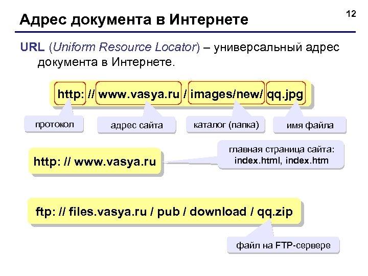 12 Адрес документа в Интернете URL (Uniform Resource Locator) – универсальный адрес документа в