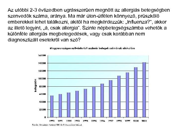 Az utóbbi 2 -3 évtizedben ugrásszerûen megnõtt az allergiás betegségben szenvedõk száma, aránya. Ma