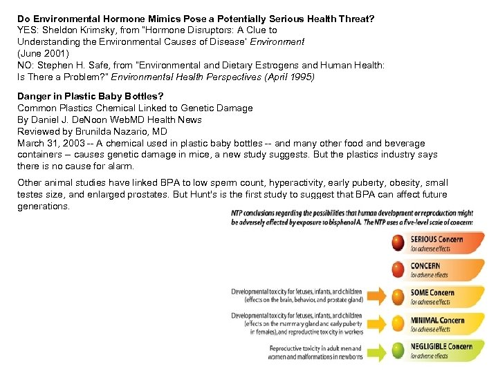 Do Environmental Hormone Mimics Pose a Potentially Serious Health Threat? YES: Sheldon Krimsky, from