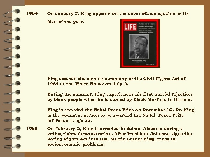 1964 On January 3, King appears on the cover Time magazine as its of