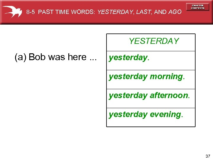 8 -5 PAST TIME WORDS: YESTERDAY, LAST, AND AGO YESTERDAY (a) Bob was here.