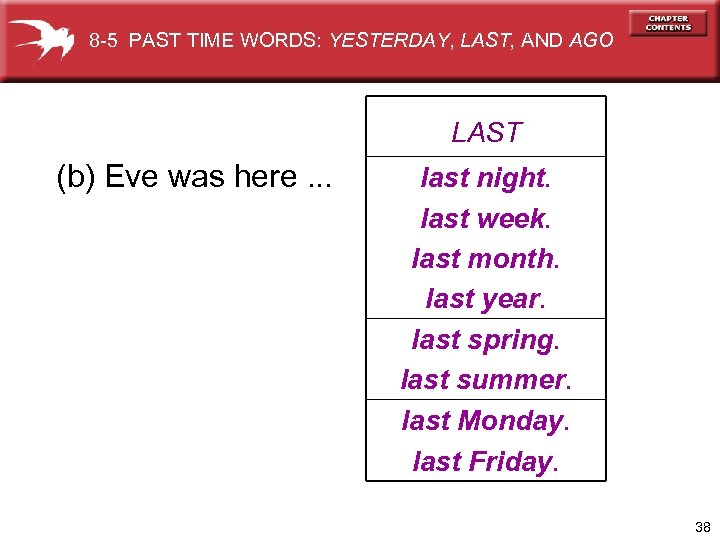 8 -5 PAST TIME WORDS: YESTERDAY, LAST, AND AGO LAST (b) Eve was here.