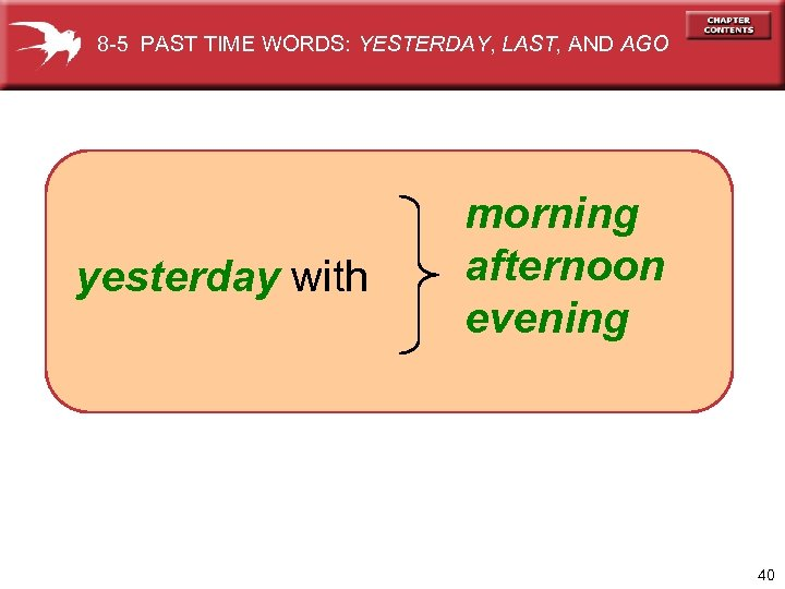 8 -5 PAST TIME WORDS: YESTERDAY, LAST, AND AGO yesterday with morning afternoon evening