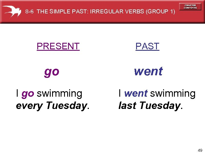 8 -6 THE SIMPLE PAST: IRREGULAR VERBS (GROUP 1) PRESENT go I go swimming