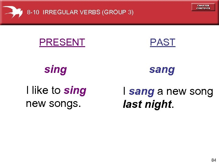 8 -10 IRREGULAR VERBS (GROUP 3) PRESENT sing I like to sing new songs.