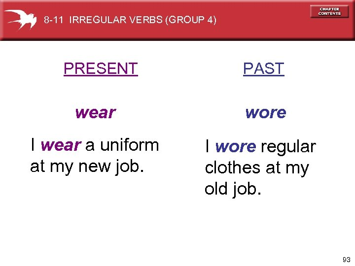 8 -11 IRREGULAR VERBS (GROUP 4) PRESENT PAST wear wore I wear a uniform
