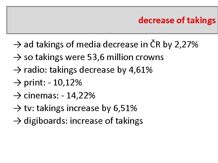 decrease of takings → ad takings of media decrease in ČR by 2, 27%