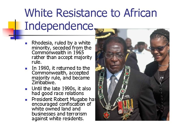 White Resistance to African Independence. n n Rhodesia, ruled by a white minority, seceded
