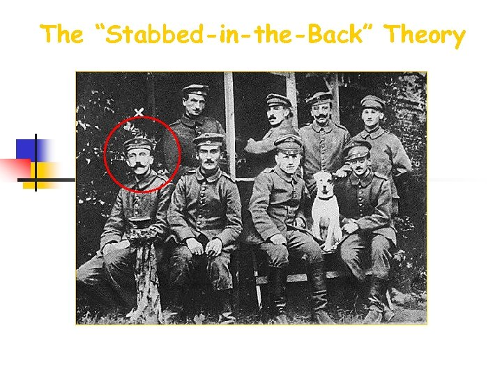 """The """"Stabbed-in-the-Back"""" Theory Disgruntled German WWI veterans"""