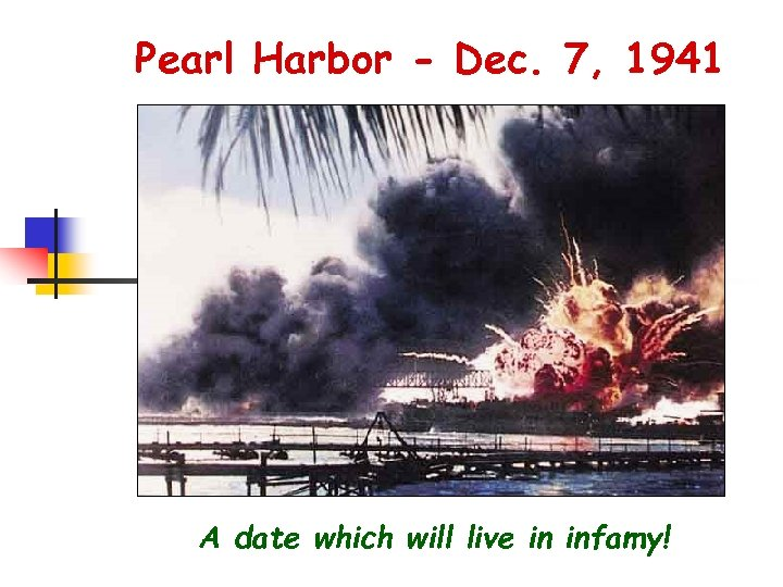 Pearl Harbor - Dec. 7, 1941 A date which will live in infamy!