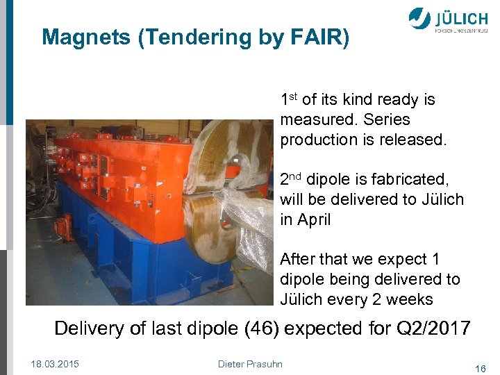 Magnets (Tendering by FAIR) 1 st of its kind ready is measured. Series production