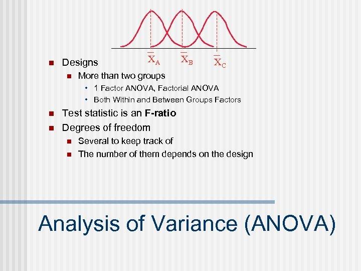n Designs n XA XB XC More than two groups • 1 Factor ANOVA,