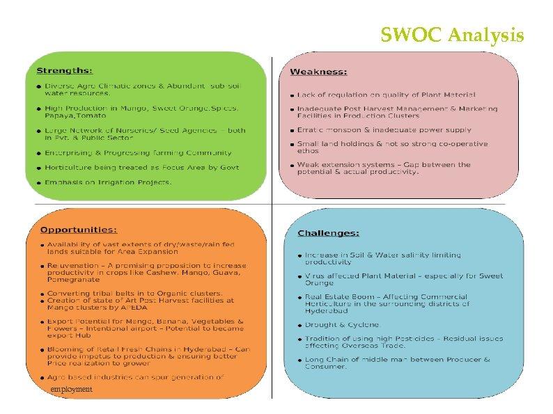 SWOC Analysis employment