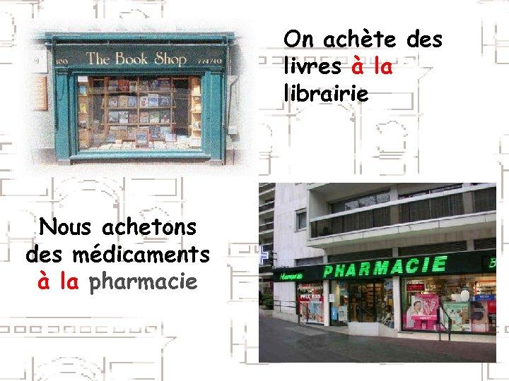 On achète des livres à la librairie Nous achetons des médicaments à la pharmacie