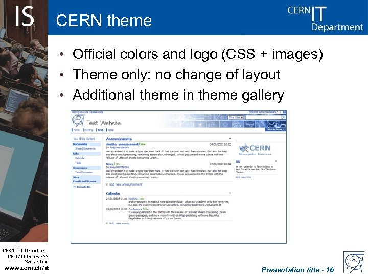CERN theme • Official colors and logo (CSS + images) • Theme only: no
