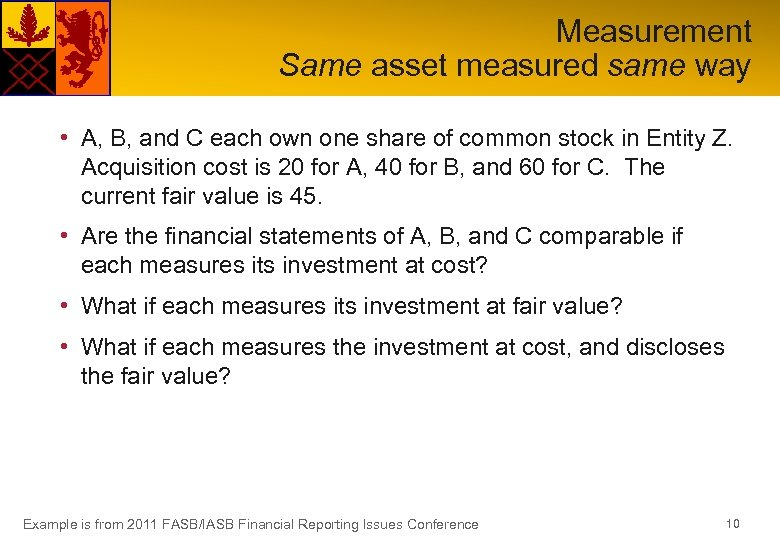 Measurement Same asset measured same way • A, B, and C each own one