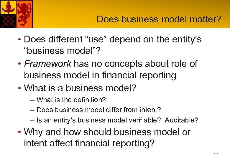 "Does business model matter? • Does different ""use"" depend on the entity's ""business model""?"