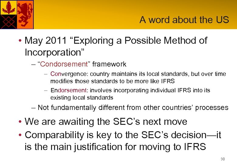 "A word about the US • May 2011 ""Exploring a Possible Method of Incorporation"""