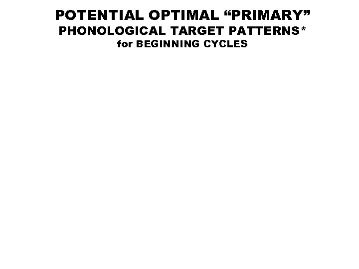 """POTENTIAL OPTIMAL """"PRIMARY"""" PHONOLOGICAL TARGET PATTERNS* for BEGINNING CYCLES"""