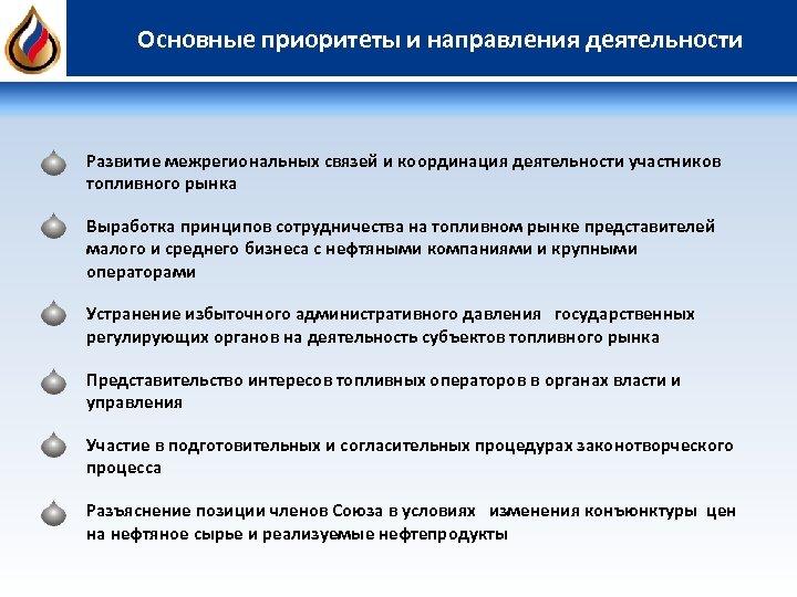 Основные приоритеты и направления деятельности Развитие межрегиональных связей и координация деятельности участников топливного рынка