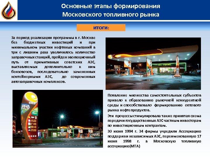 Основные этапы формирования Московского топливного рынка ИТОГИ: За период реализации программы в г. Москве