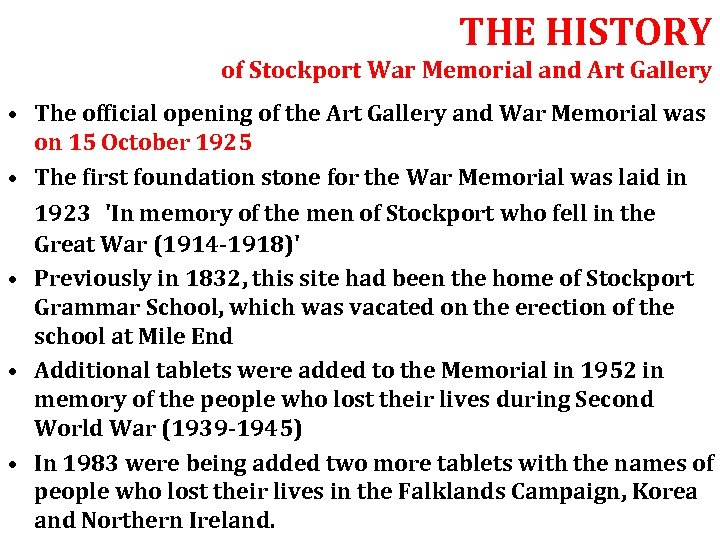 THE HISTORY of Stockport War Memorial and Art Gallery • The official opening of