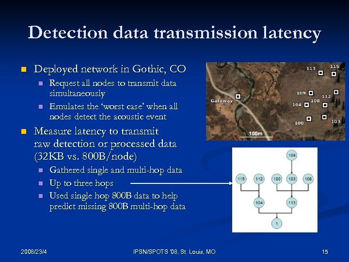 Detection data transmission latency n Deployed network in Gothic, CO n n n Request