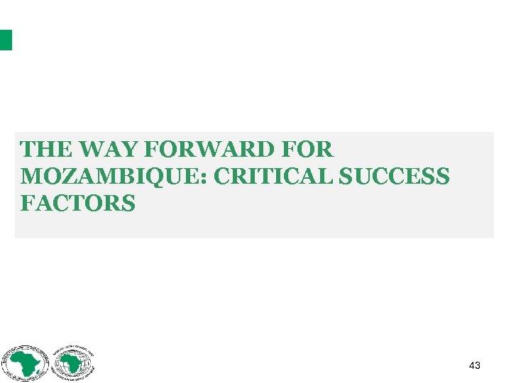 THE WAY FORWARD FOR MOZAMBIQUE: CRITICAL SUCCESS FACTORS 43