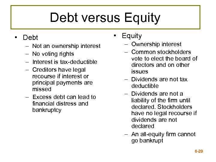 Debt versus Equity • Debt – – Not an ownership interest No voting rights