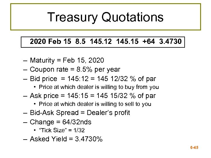 Treasury Quotations 2020 Feb 15 8. 5 145. 12 145. 15 +64 3. 4730