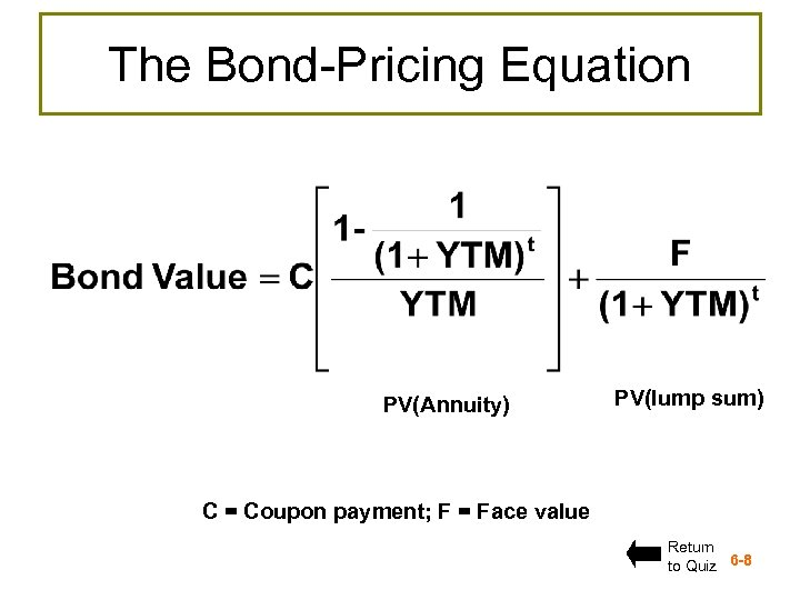 The Bond-Pricing Equation PV(Annuity) PV(lump sum) C = Coupon payment; F = Face value