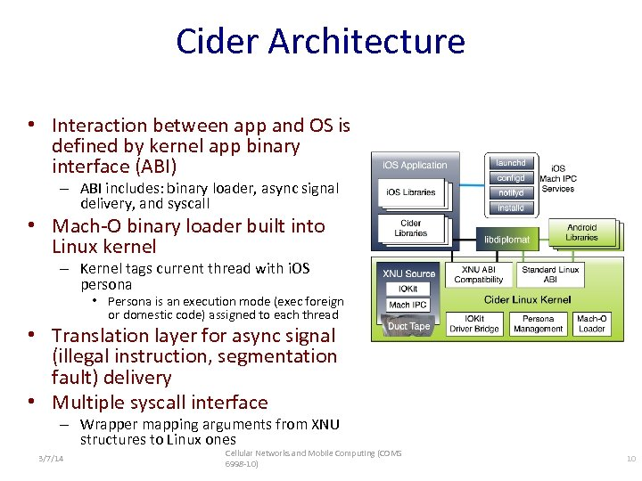 Cider Architecture • Interaction between app and OS is defined by kernel app binary