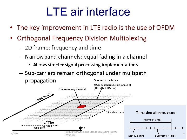 LTE air interface • The key improvement in LTE radio is the use of
