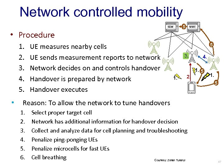 Network controlled mobility SGW 5 MME • Procedure 1. 2. 3. 4. 5. •