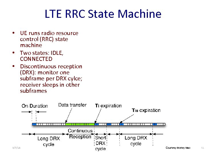 LTE RRC State Machine • UE runs radio resource control (RRC) state machine •