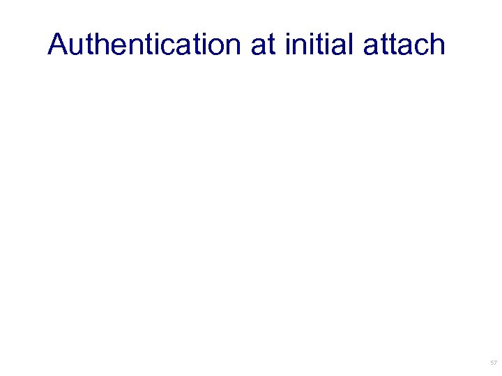 Authentication at initial attach 57