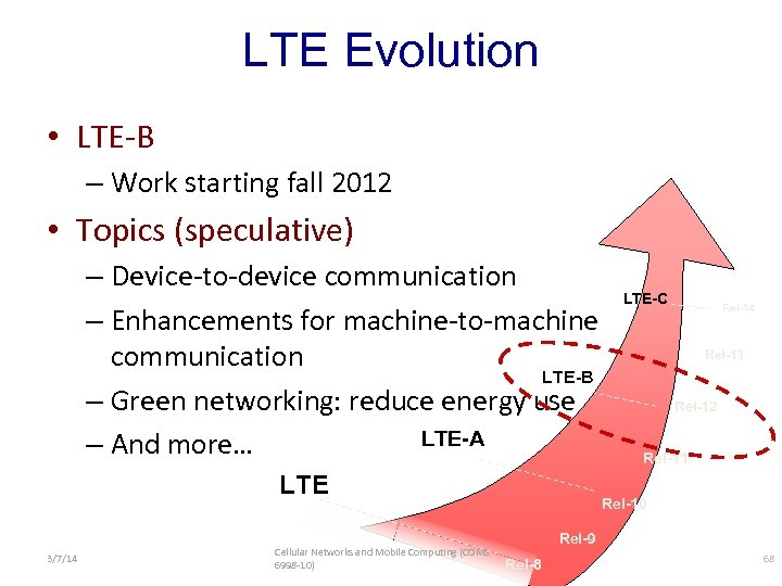 LTE Evolution • LTE-B – Work starting fall 2012 • Topics (speculative) – Device-to-device