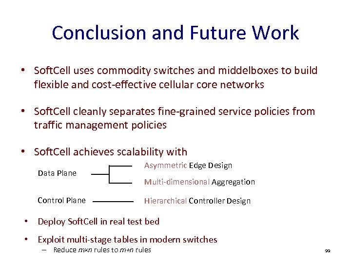 Conclusion and Future Work • Soft. Cell uses commodity switches and middelboxes to build