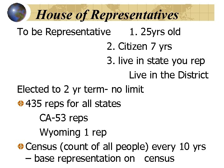House of Representatives To be Representative 1. 25 yrs old 2. Citizen 7 yrs