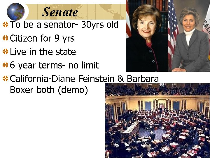 Senate To be a senator- 30 yrs old Citizen for 9 yrs Live in