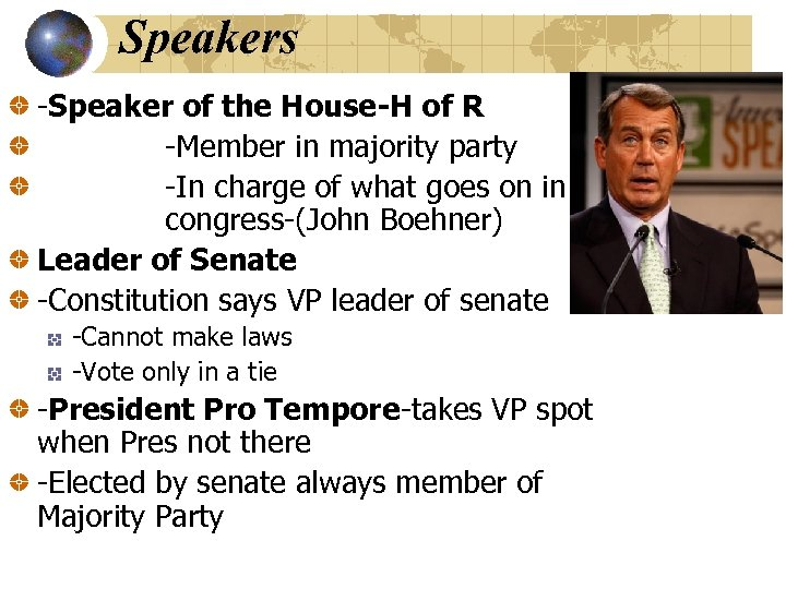 Speakers -Speaker of the House-H of R -Member in majority party -In charge of