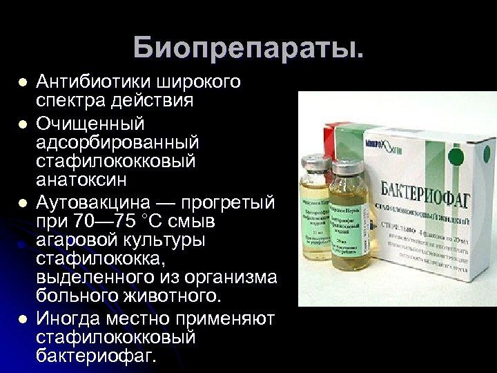 Биопрепараты. l l Антибиотики широкого спектра действия Очищенный адсорбированный стафилококковый анатоксин Аутовакцина — прогретый