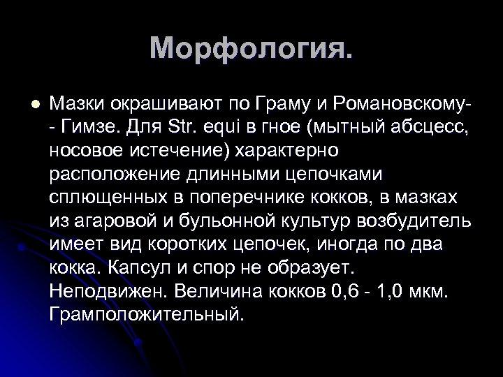 Морфология. l Мазки окрашивают по Граму и Романовскому Гимзе. Для Str. equi в гное