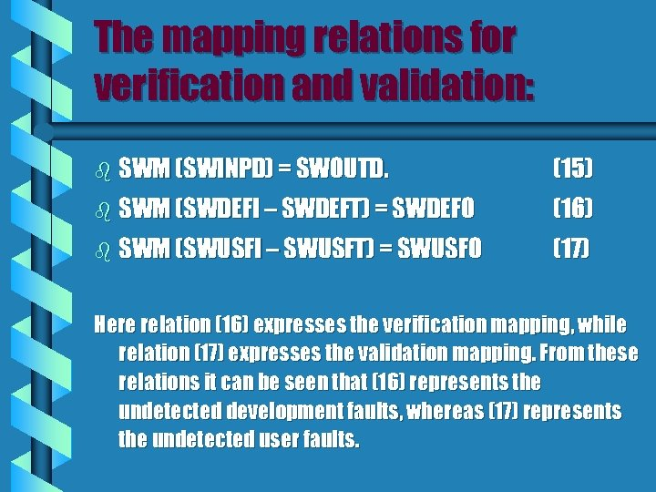 The mapping relations for verification and validation: b SWM (SWINPD) = SWOUTD. (15) b