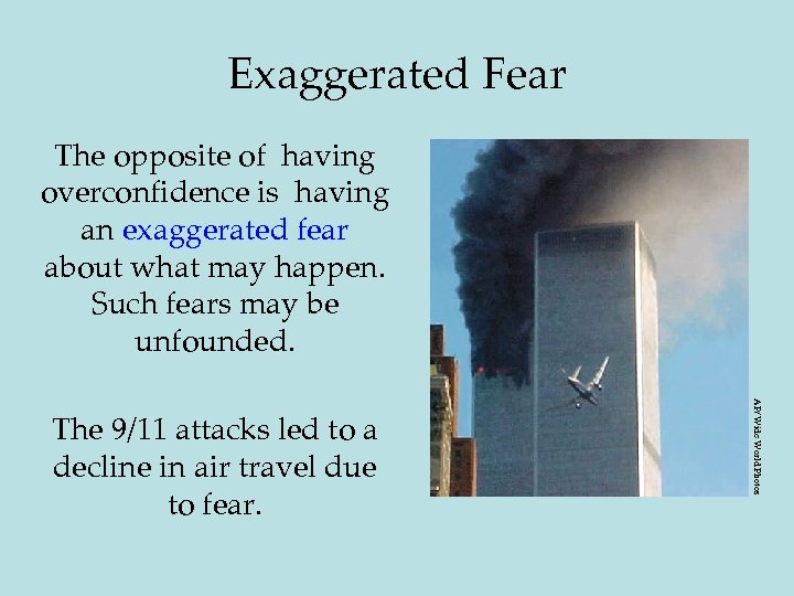 Exaggerated Fear The opposite of having overconfidence is having an exaggerated fear about what